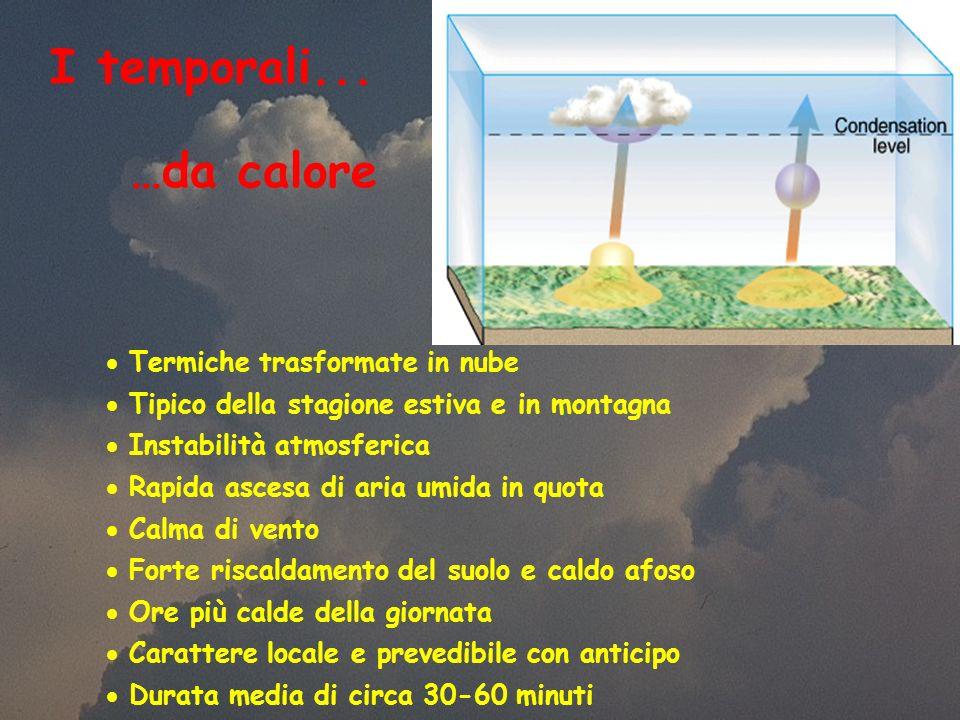 I temporali... …da calore Termiche trasformate in nube