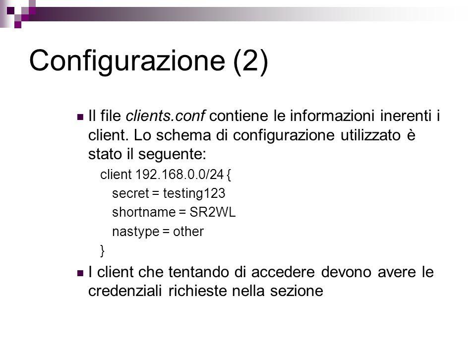 Configurazione (2) Il file clients.conf contiene le informazioni inerenti i client. Lo schema di configurazione utilizzato è stato il seguente: