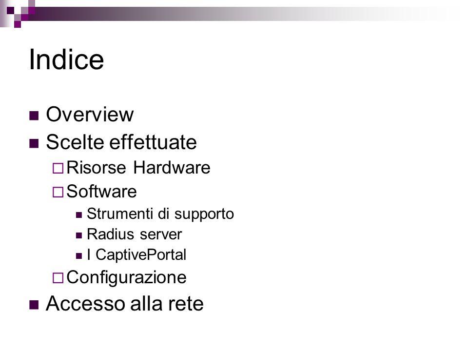 Indice Overview Scelte effettuate Accesso alla rete Risorse Hardware