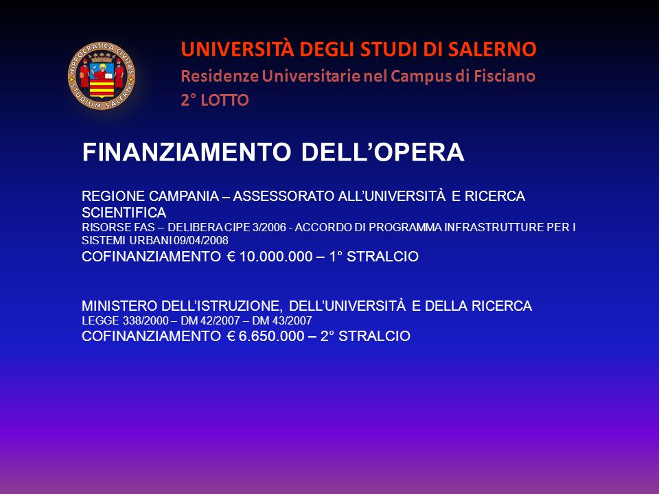 FINANZIAMENTO DELL'OPERA