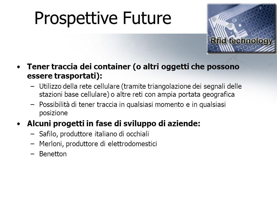Prospettive Future Tener traccia dei container (o altri oggetti che possono essere trasportati):