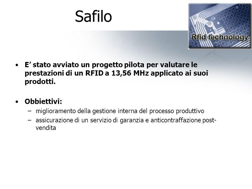 Safilo E' stato avviato un progetto pilota per valutare le prestazioni di un RFID a 13,56 MHz applicato ai suoi prodotti.