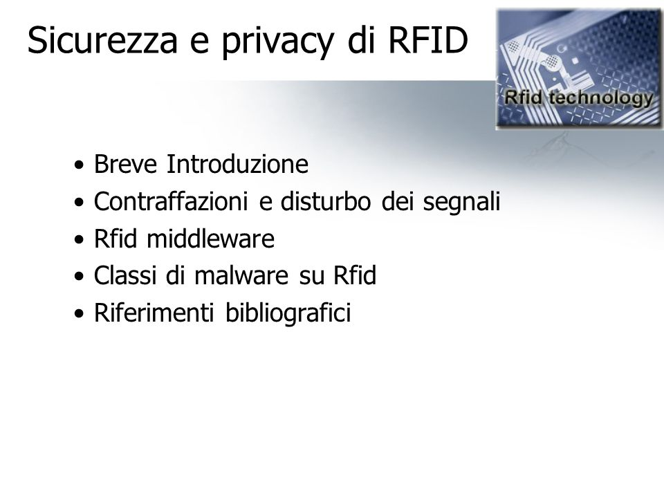 Sicurezza e privacy di RFID