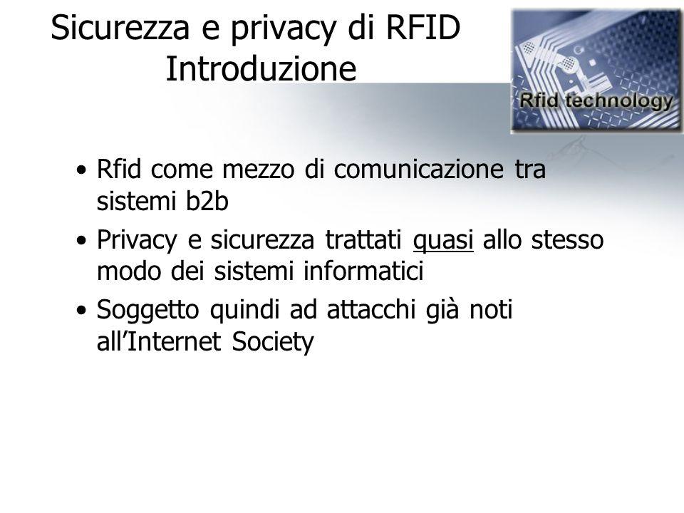 Sicurezza e privacy di RFID Introduzione