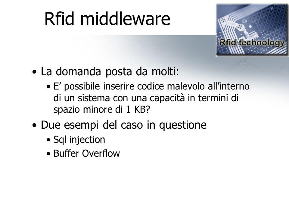 Rfid middleware La domanda posta da molti: