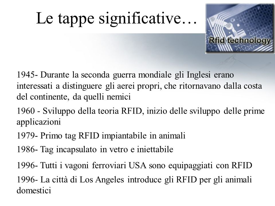 Le tappe significative…