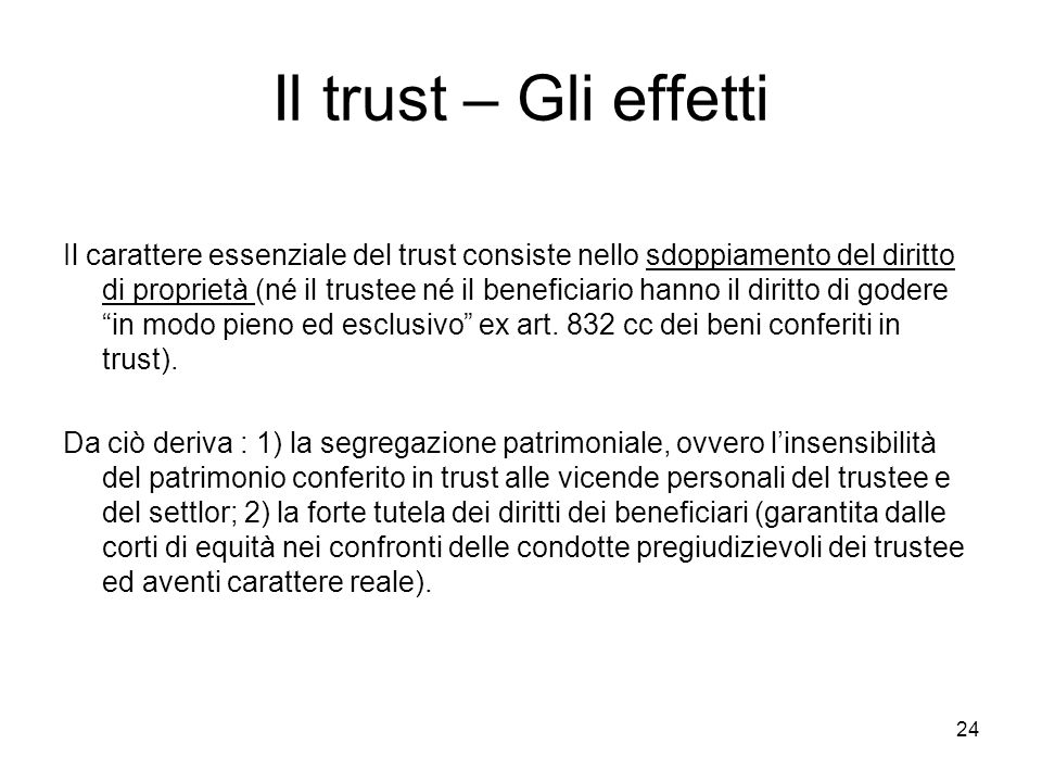 Il trust – Gli effetti