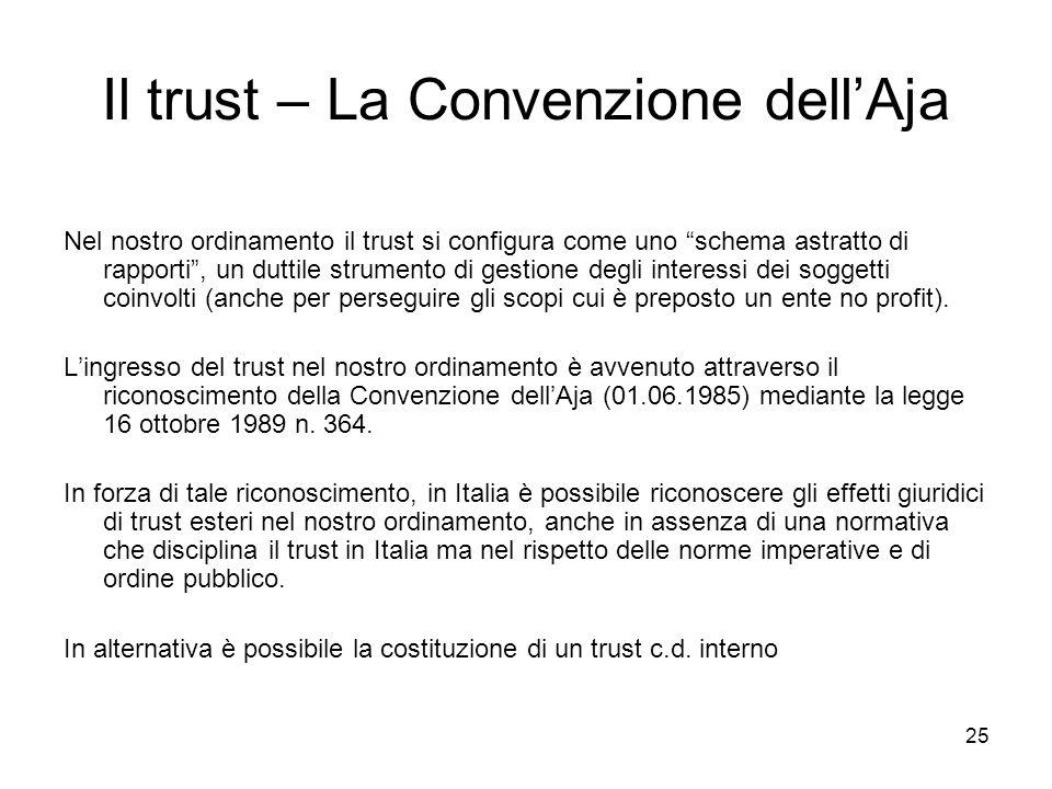 Il trust – La Convenzione dell'Aja