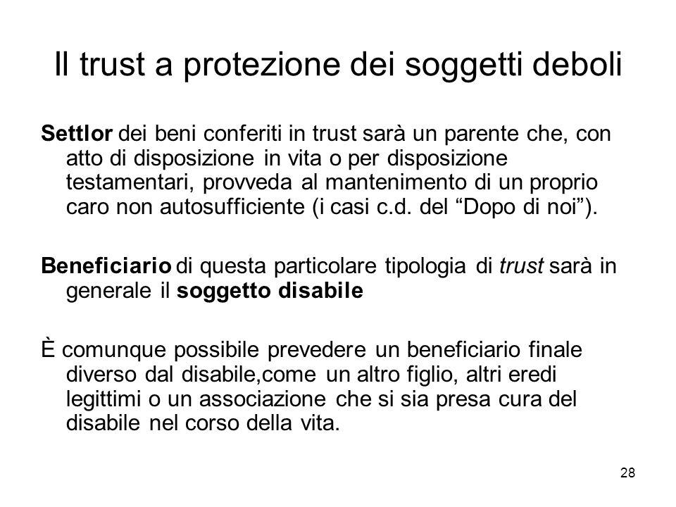 Il trust a protezione dei soggetti deboli