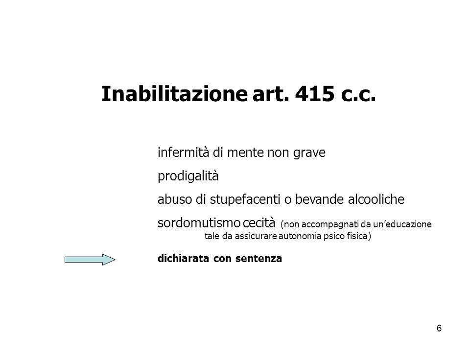 Inabilitazione art. 415 c.c. infermità di mente non grave prodigalità