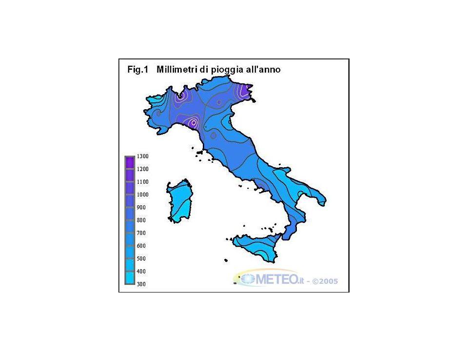 Distribuzione delle piogge in Italia (media annuale)