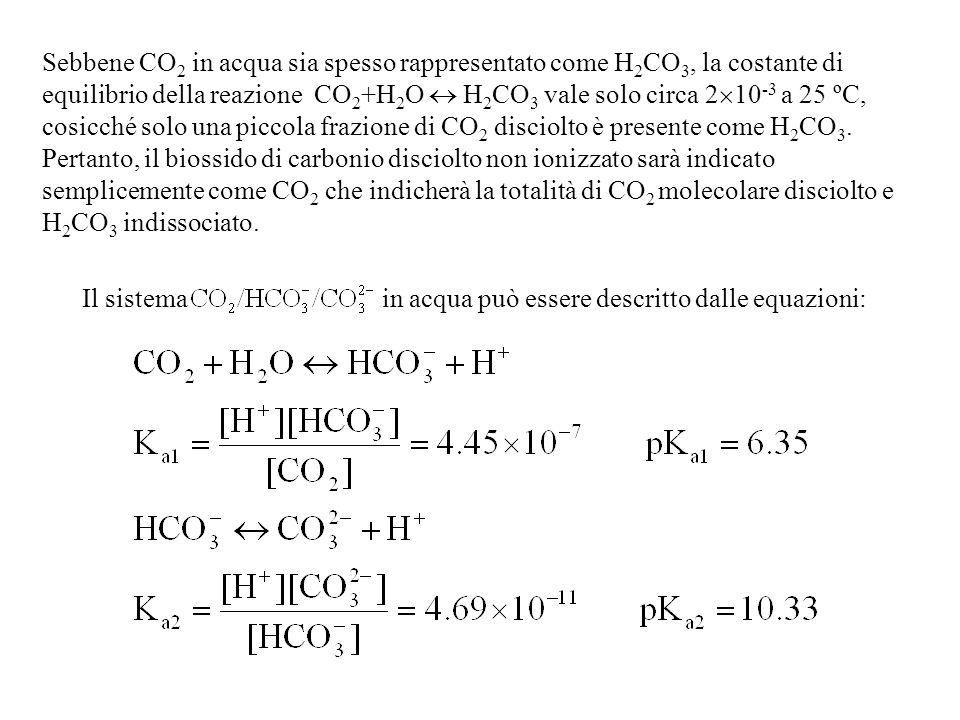 Sebbene CO2 in acqua sia spesso rappresentato come H2CO3, la costante di equilibrio della reazione CO2+H2O  H2CO3 vale solo circa 210-3 a 25 ºC, cosicché solo una piccola frazione di CO2 disciolto è presente come H2CO3.