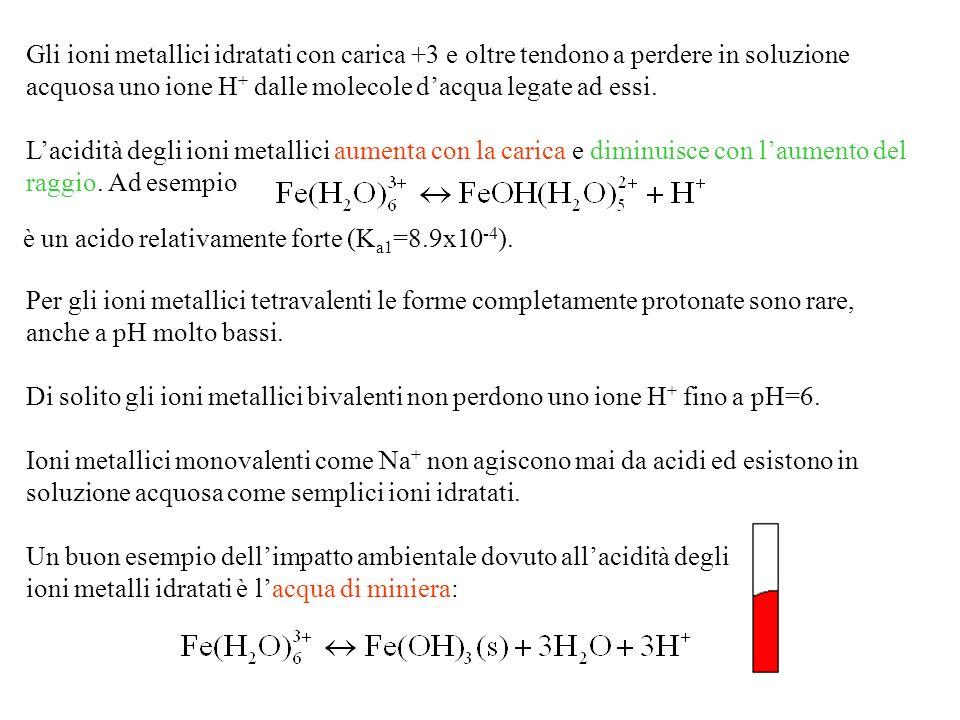 Gli ioni metallici idratati con carica +3 e oltre tendono a perdere in soluzione acquosa uno ione H+ dalle molecole d'acqua legate ad essi.