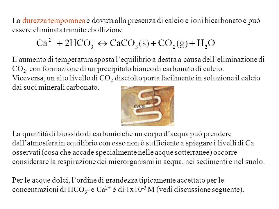 La durezza temporanea è dovuta alla presenza di calcio e ioni bicarbonato e può essere eliminata tramite ebollizione