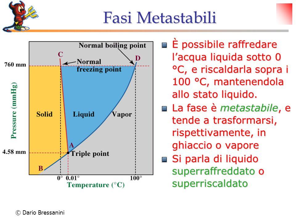 Fasi Metastabili È possibile raffredare l'acqua liquida sotto 0 °C, e riscaldarla sopra i 100 °C, mantenendola allo stato liquido.