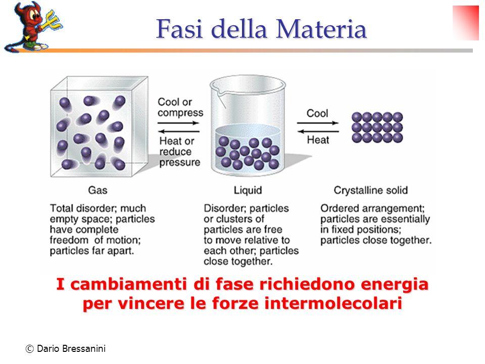 Fasi della Materia I cambiamenti di fase richiedono energia per vincere le forze intermolecolari.