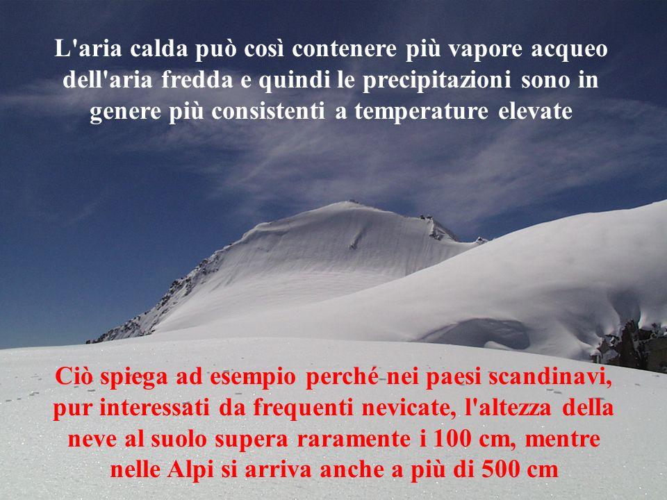 L aria calda può così contenere più vapore acqueo dell aria fredda e quindi le precipitazioni sono in genere più consistenti a temperature elevate