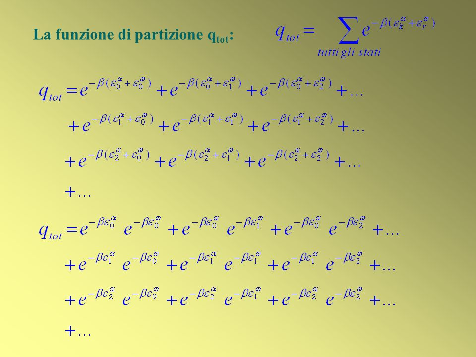 La funzione di partizione qtot: