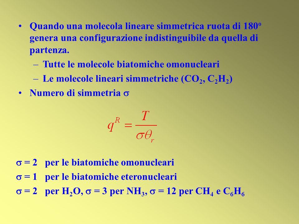 Quando una molecola lineare simmetrica ruota di 180o genera una configurazione indistinguibile da quella di partenza.