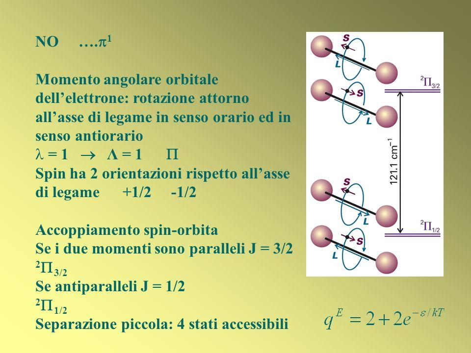 NO ….1 Momento angolare orbitale dell'elettrone: rotazione attorno all'asse di legame in senso orario ed in senso antiorario.