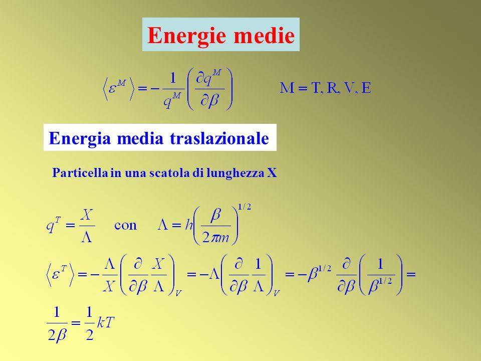 Energie medie Energia media traslazionale