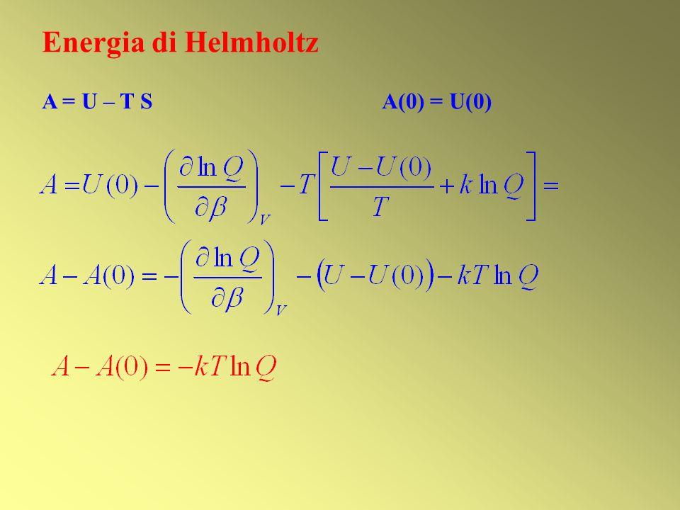 Energia di Helmholtz A = U – T S A(0) = U(0)