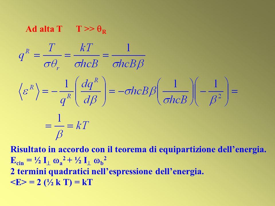 Ad alta T T >> R Risultato in accordo con il teorema di equipartizione dell'energia. Ecin = ½ I a2 + ½ I b2.