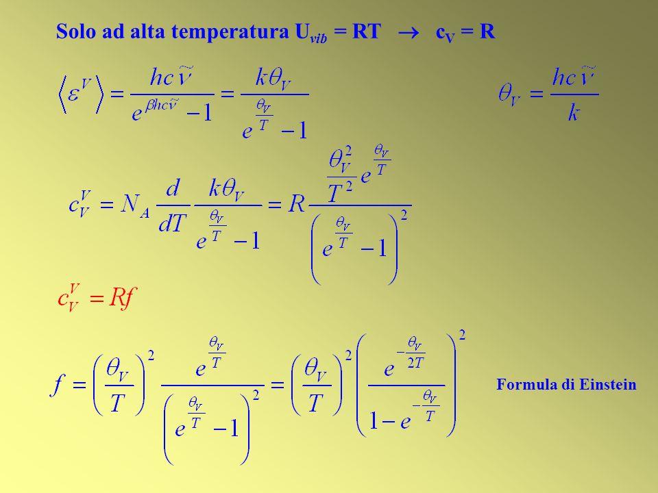 Solo ad alta temperatura Uvib = RT  cV = R