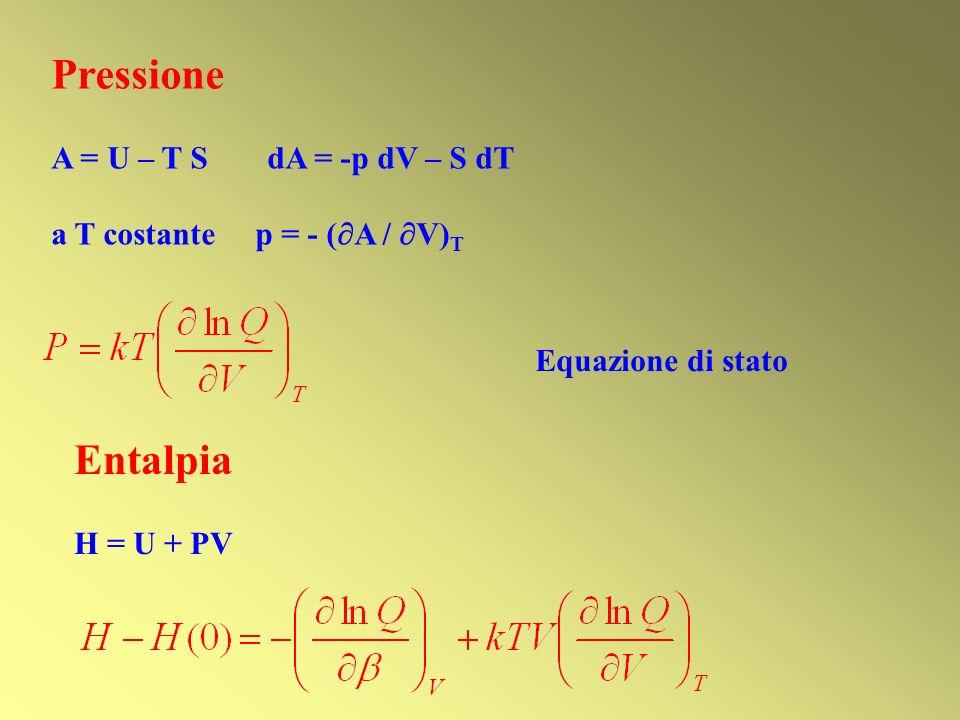 Pressione Entalpia A = U – T S dA = -p dV – S dT