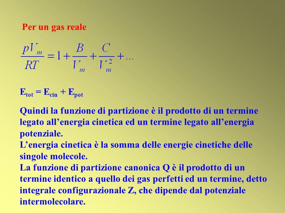 Per un gas reale Etot = Ecin + Epot.