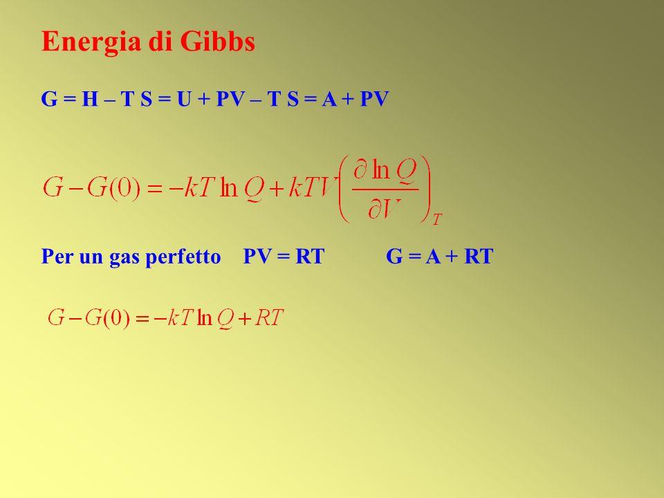Energia di Gibbs G = H – T S = U + PV – T S = A + PV
