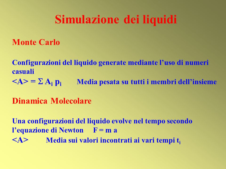 Simulazione dei liquidi