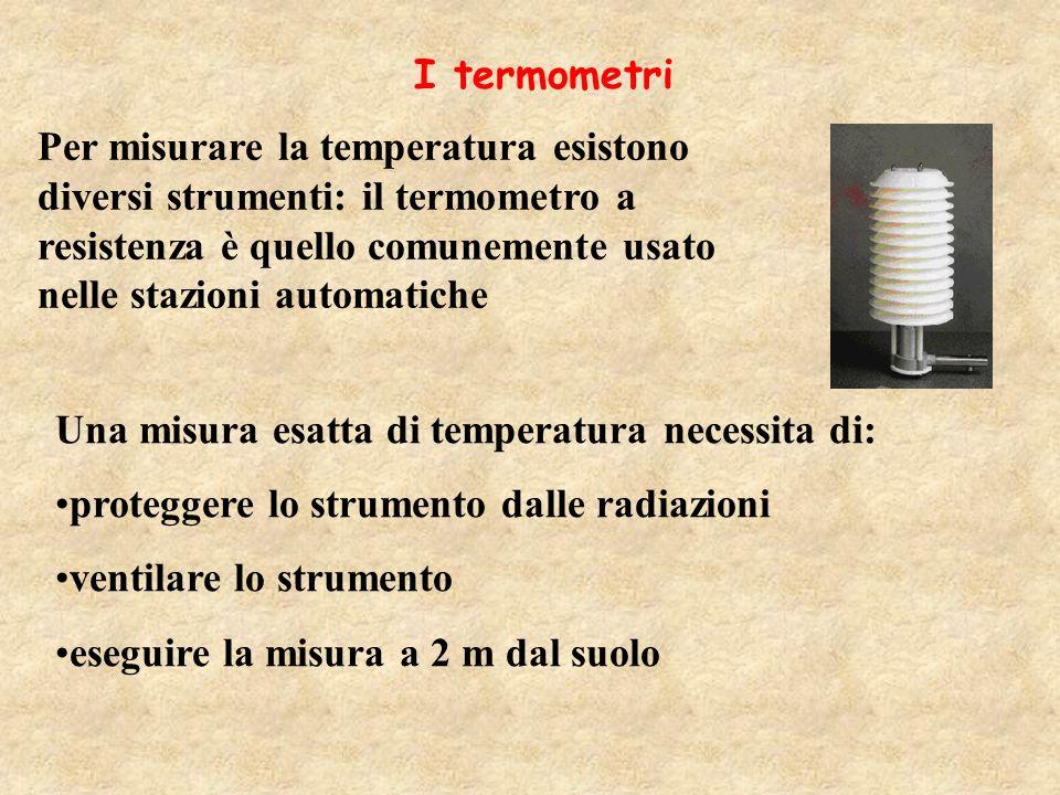 I termometri Per misurare la temperatura esistono diversi strumenti: il termometro a resistenza è quello comunemente usato nelle stazioni automatiche.