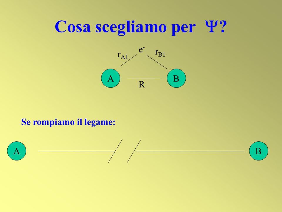 Cosa scegliamo per  A B e- rB1 rA1 R Se rompiamo il legame: A B