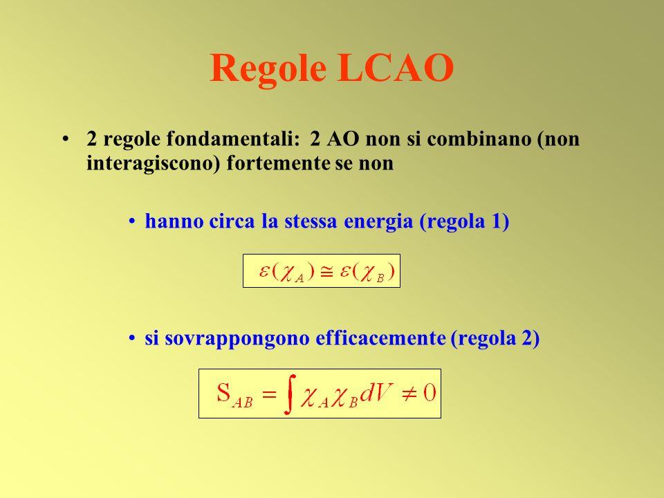Regole LCAO 2 regole fondamentali: 2 AO non si combinano (non interagiscono) fortemente se non. hanno circa la stessa energia (regola 1)