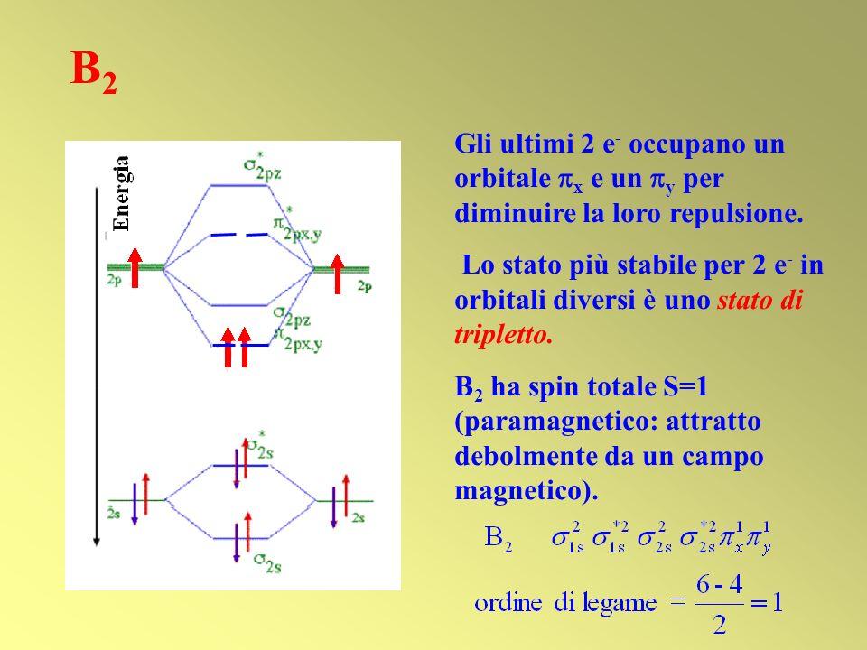 B2 Gli ultimi 2 e- occupano un orbitale x e un y per diminuire la loro repulsione.