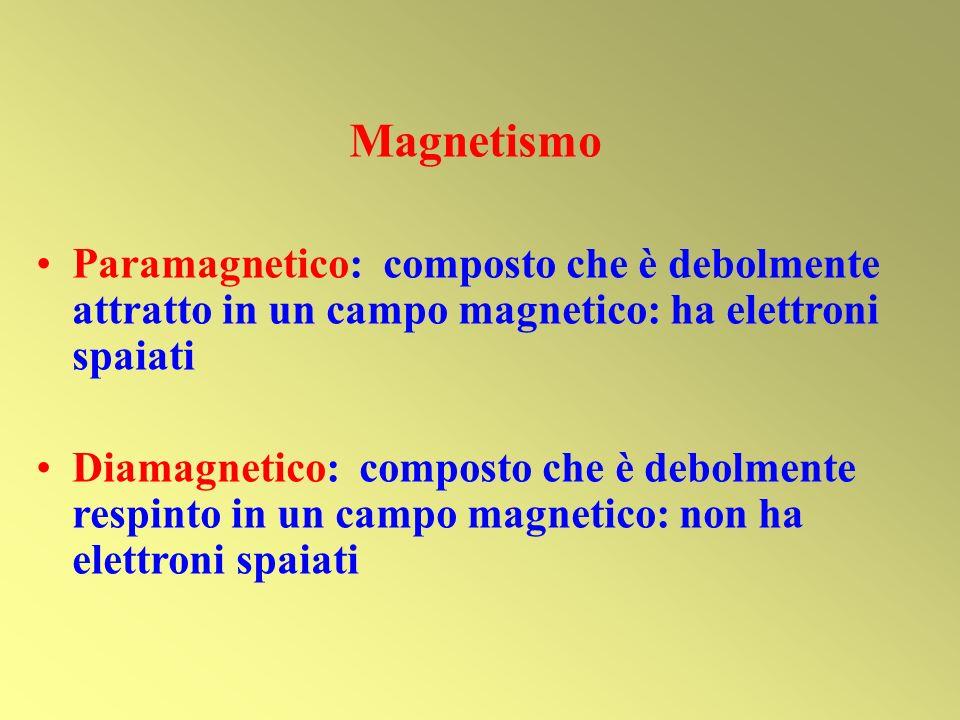 Magnetismo Paramagnetico: composto che è debolmente attratto in un campo magnetico: ha elettroni spaiati.