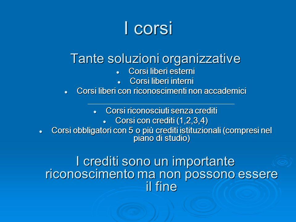 I corsi Tante soluzioni organizzative