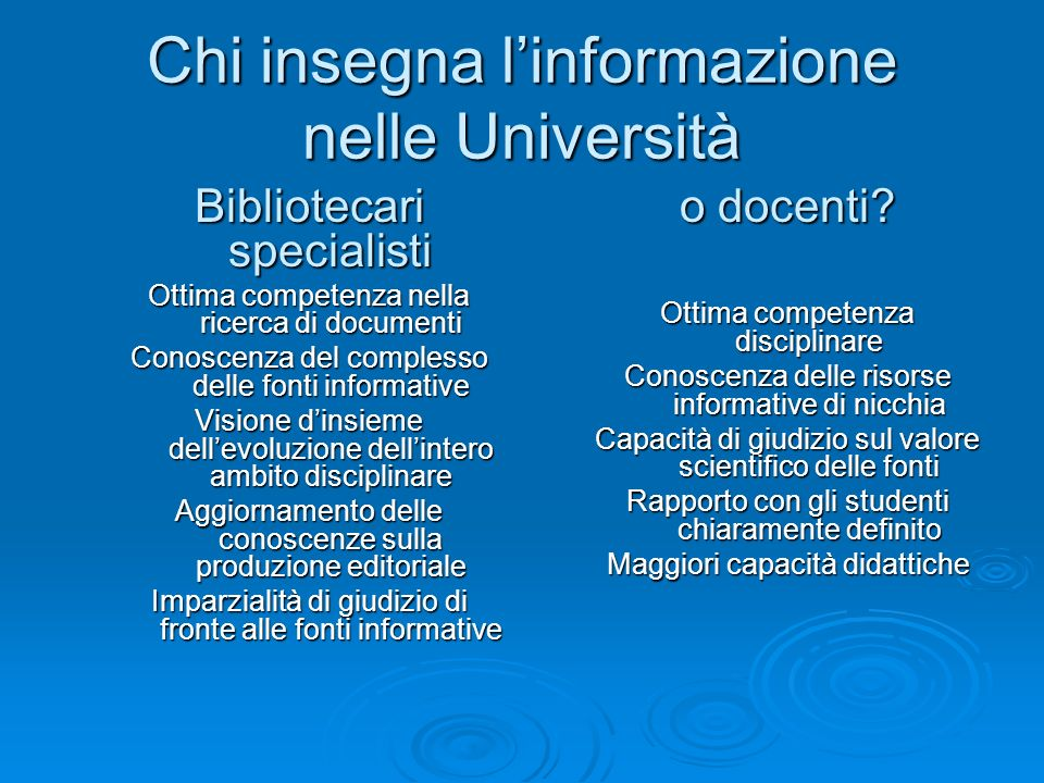 Chi insegna l'informazione nelle Università