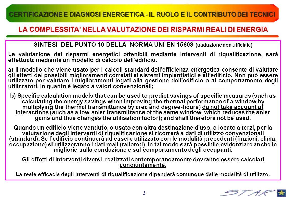 LA COMPLESSITA' NELLA VALUTAZIONE DEI RISPARMI REALI DI ENERGIA