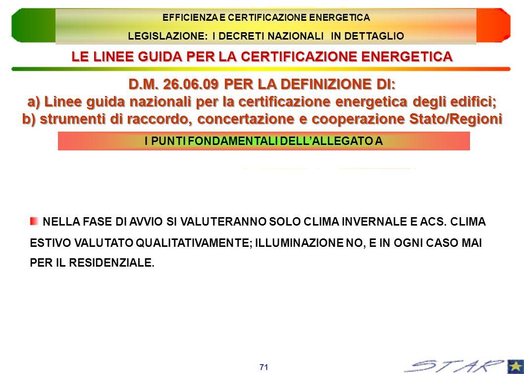 LE LINEE GUIDA PER LA CERTIFICAZIONE ENERGETICA
