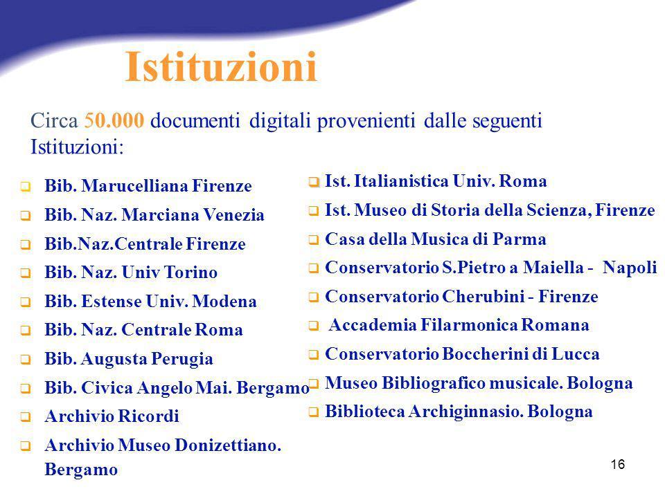 Istituzioni Circa 50.000 documenti digitali provenienti dalle seguenti Istituzioni: Ist. Italianistica Univ. Roma.