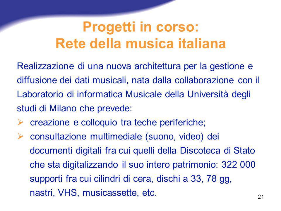 Progetti in corso: Rete della musica italiana