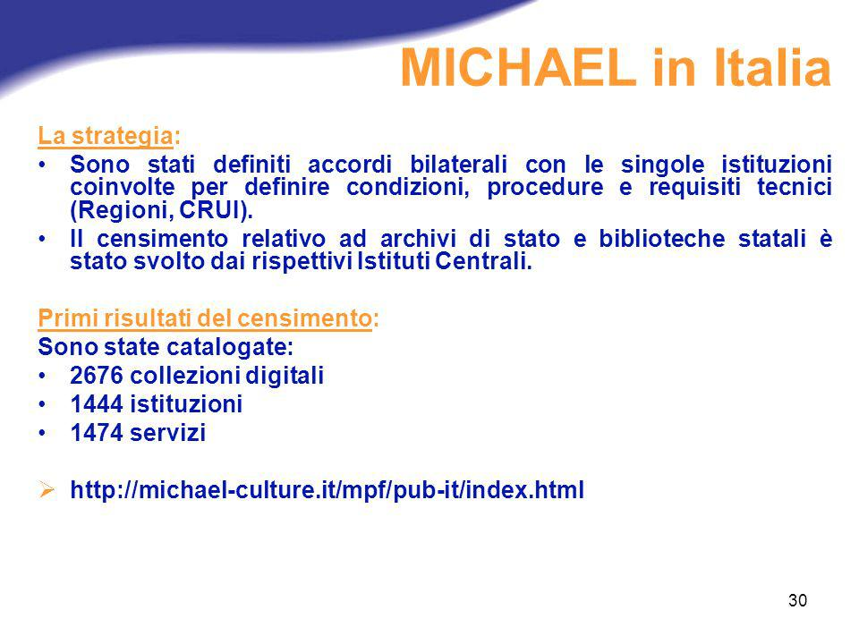 MICHAEL in Italia La strategia: