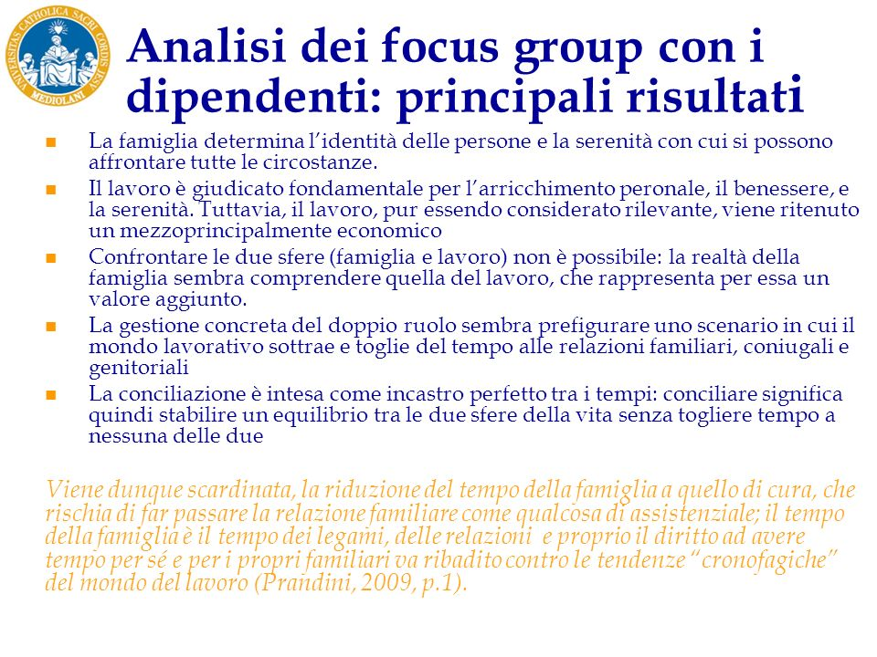 Analisi dei focus group con i dipendenti: principali risultati