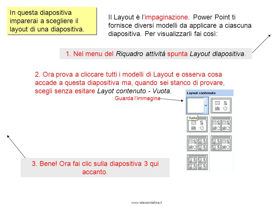 1. Nel menu del Riquadro attività spunta Layout diapositiva.
