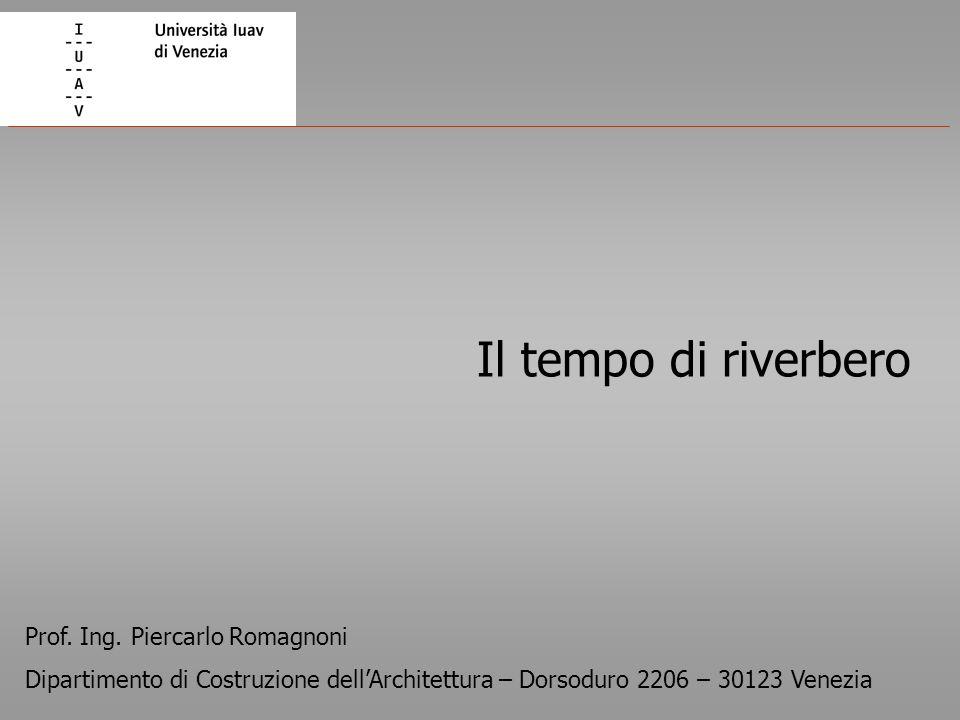 Il tempo di riverbero Prof. Ing. Piercarlo Romagnoni