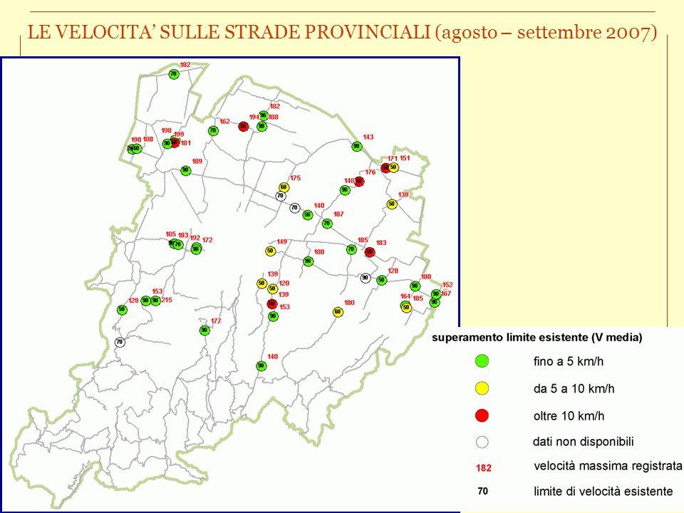 LE VELOCITA' SULLE STRADE PROVINCIALI (agosto – settembre 2007)