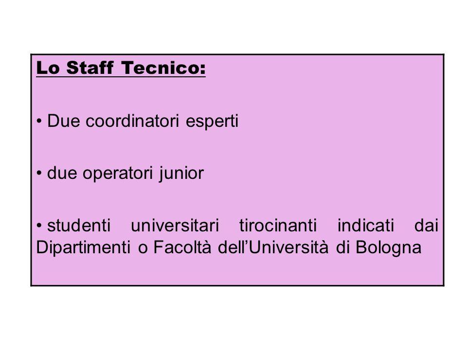 Lo Staff Tecnico: Due coordinatori esperti. due operatori junior.