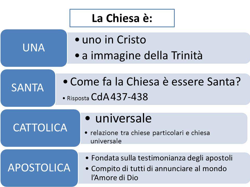 universale La Chiesa è: uno in Cristo a immagine della Trinità